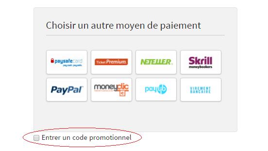"""Cocher la case """"Entrer un code promotionnel"""""""