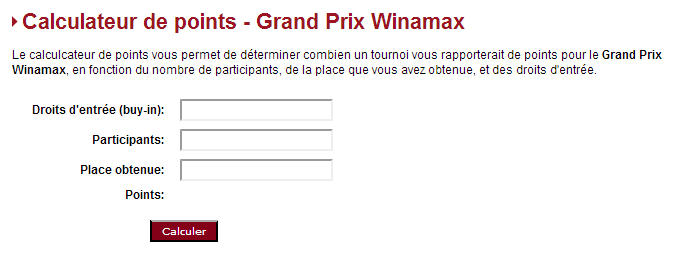 Calculateur de points Winamax