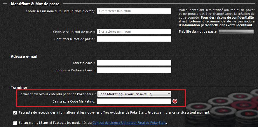 Code marketing PokerStars