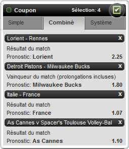 Paris combinés: tous les sports disponibles
