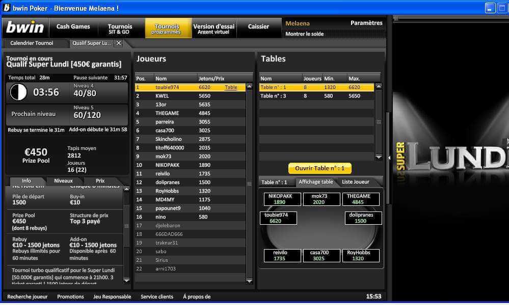 Overlay sur Bwin Poker