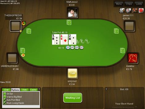Table de poker en ligne sur Unibet