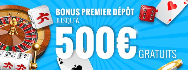 Bonus premier dépôt jusquà 500 € gratuits