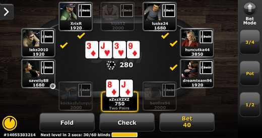 Table de poker en ligne sur Bwin
