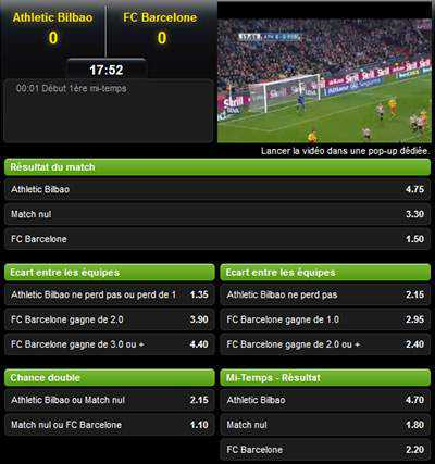 Match en streaming Unibet