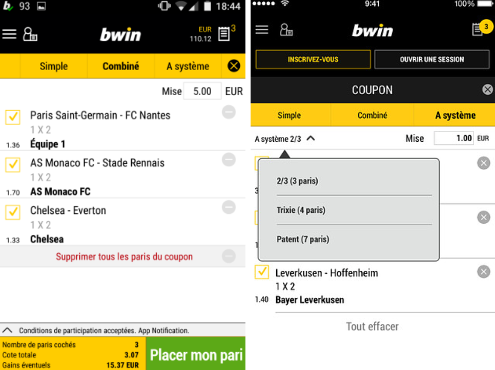 bwin android double
