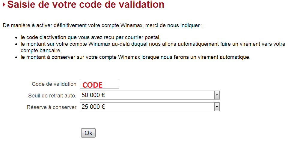 Saisie code de validation
