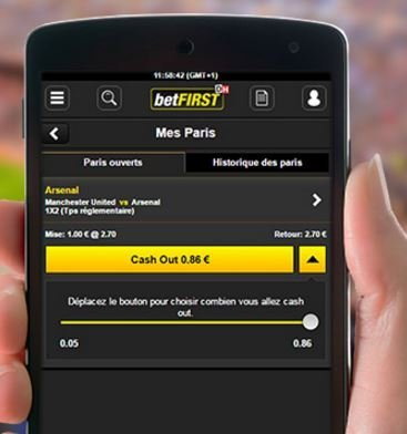 cash out sur mobile betfirst