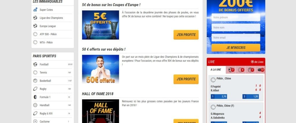 Les promotions sur France Pari
