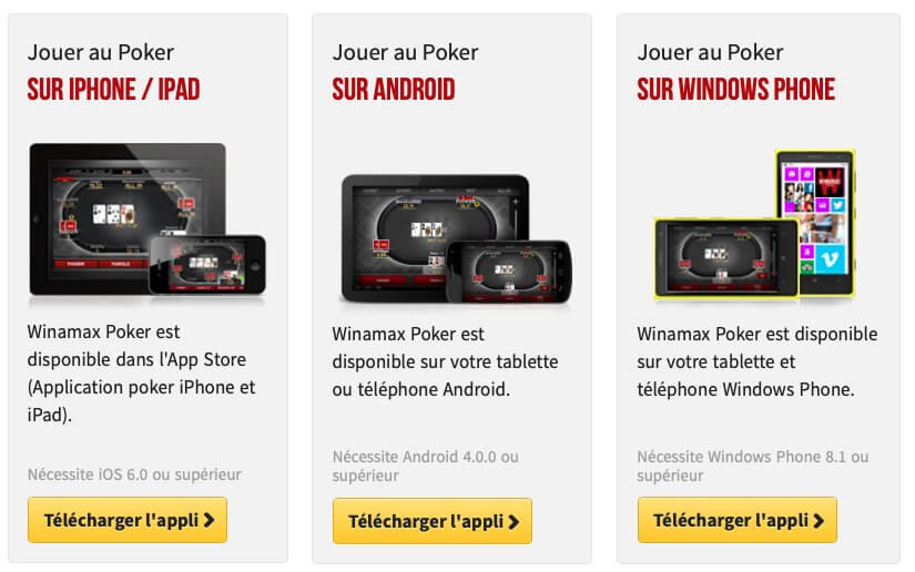 Winamax poker mobile