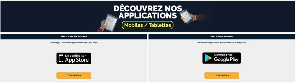 Application NEtBet pour iOS et Android
