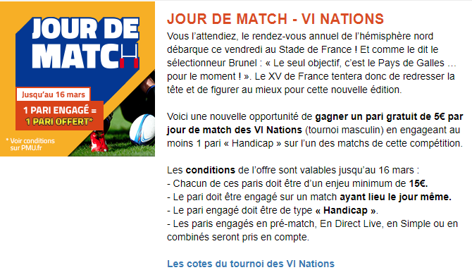pmu pari tournoi 6 nations