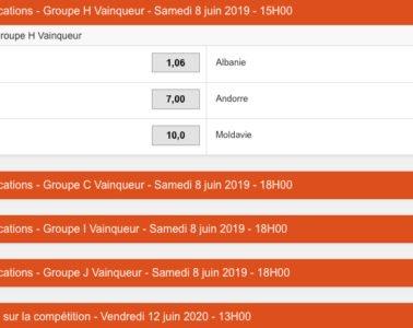 Parier sur l'Euro de foot 2020