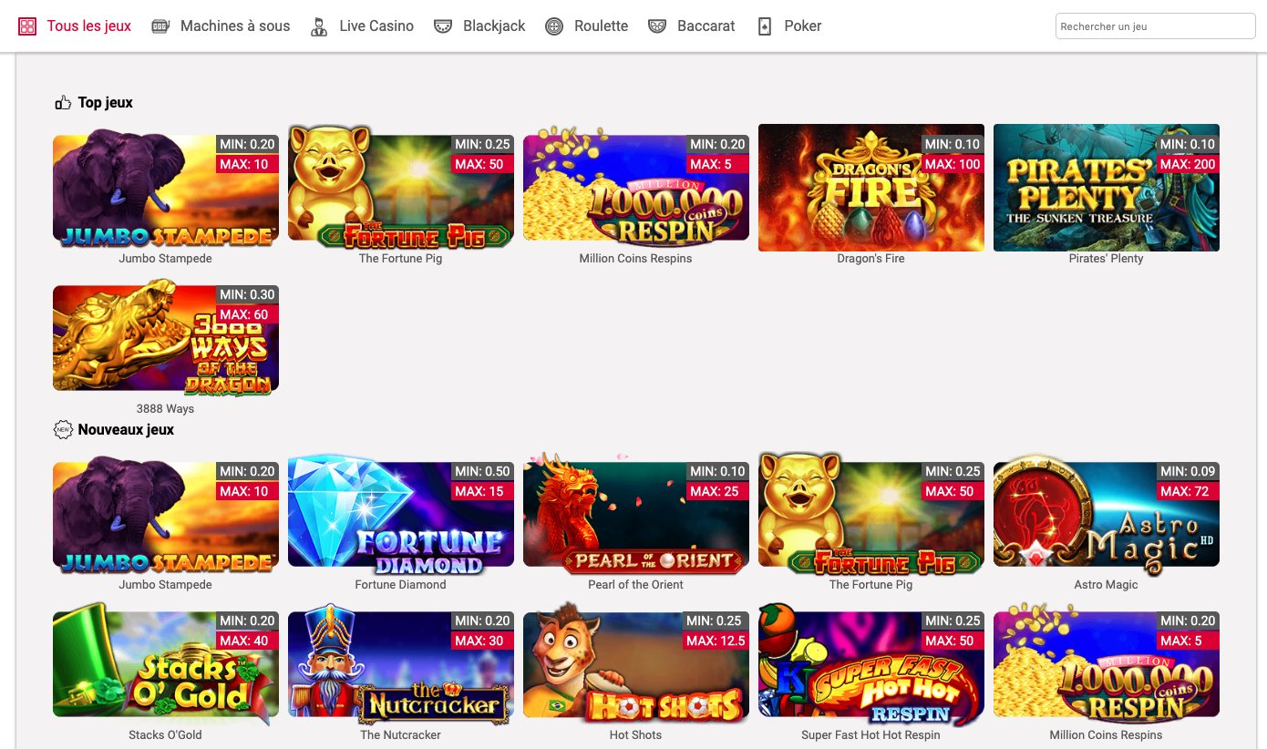 Catalogue de jeux myjackpots