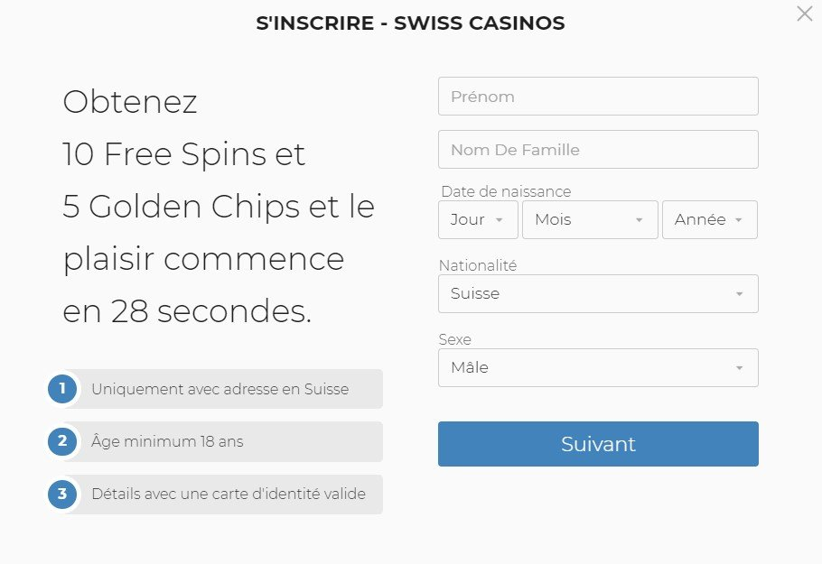 S'inscrire sur SwissCasinos