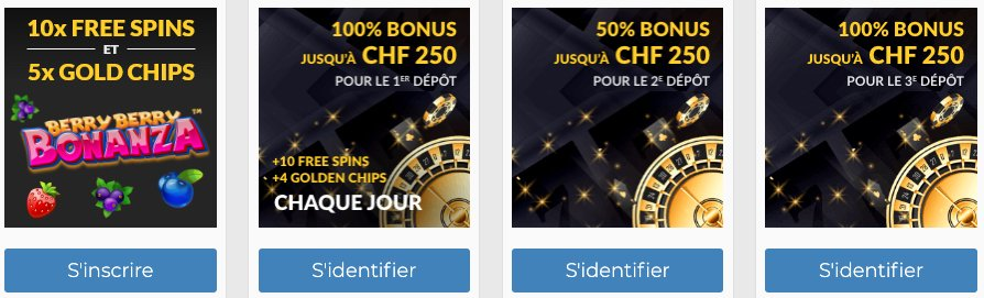 Profitez des 4 bonus de bienvenue Swisscasinos